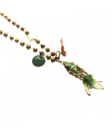 collana MR BIGGY BIJOUX con ciondolo pesce mini verde in smalto cloisonné' e catena in cristalli oro