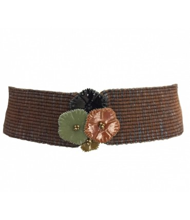 Exquisite J high waist elastic wool belt with tris of varnished flowers