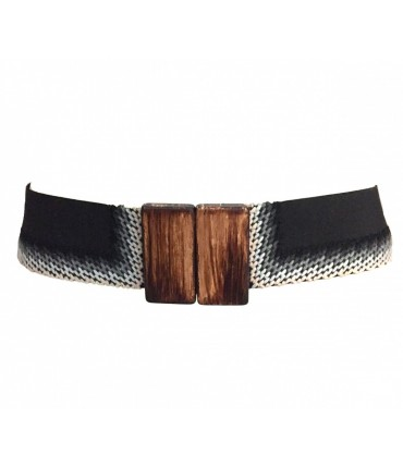 EXQUISITE J elastic black wool belt gray embroidery and wood buckle