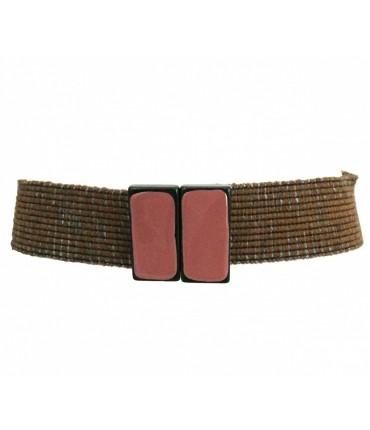Exquisite J belt in brown and gray elastic wool with double enamel pink buckle