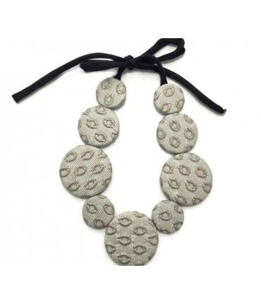 Handmade FLOW-ERS choker with brocade light grey tablets