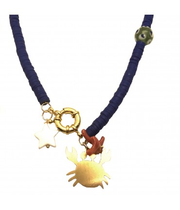 collana girocollo MR BIGGY BIJOUX ciondolo granchio e polimeri bluette