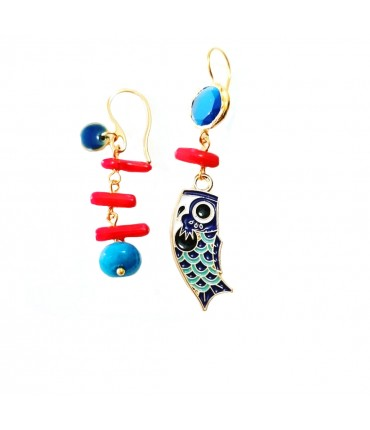 orecchini MR BIGGY BIJOUX spaiati con ciondolo pesce in smalto bluette