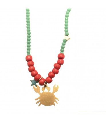 collana MR BIGGY BIJOUX con ciondolo granchio, cristalli verde acqua e perline rosse