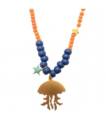 collana MR BIGGY BIJOUX con ciondolo medusa, cristalli arancio e perline blu scuro