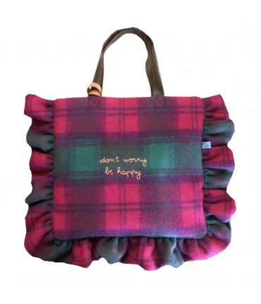 "borsa a spalla VOLANTS VOLANT in lana plaid orchidea, smeraldo e viola ricamata a mano ""don't worry be happy"""
