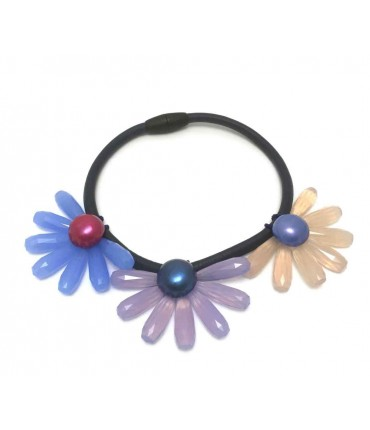 Handmade Clotilde Silva blue choker with three flowers