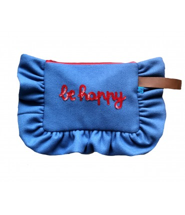 "maxi pochette VOLANTS VOLANT in panno di lana blu pastello con ricamo a mano in paillettes ""be happy"""