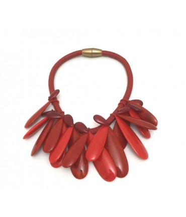 Handmade Clotilde Silva red choker with drops