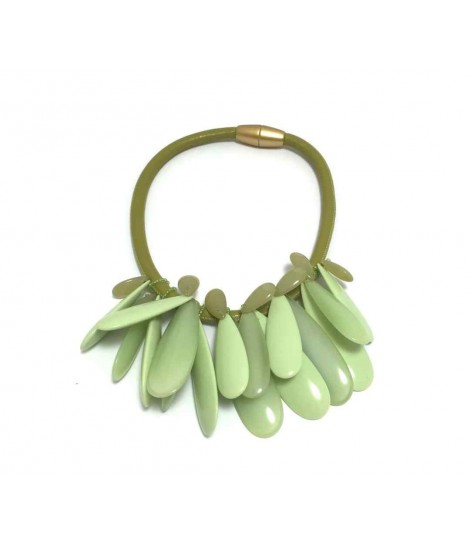 Handmade Clotilde Silva green choker with drops