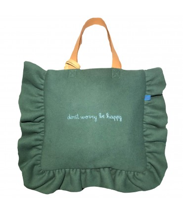 "shopping bag VOLANTS VOLANT in panno di lana verde menta con ricamo a mano ""don't worry be happy"""