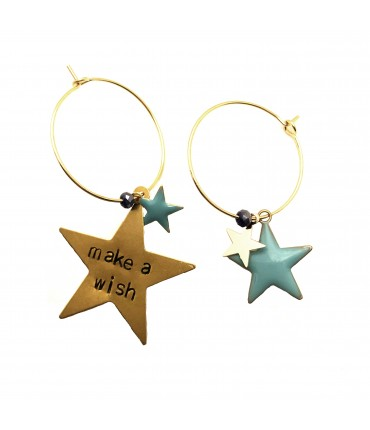 "orecchini a cerchio MR BIGGY BIJOUX ""make a wish"" con ciondolo stella e stelline turchesi"