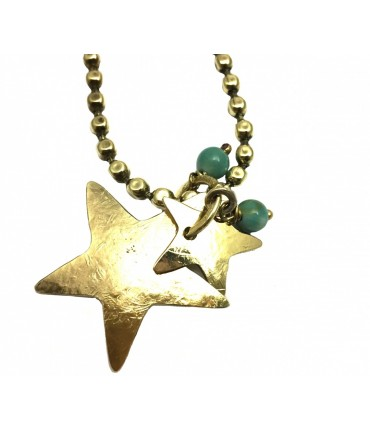 Majo long necklace in polished bronze with tris degrade'stars+amazzonite