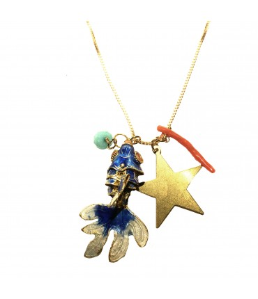 collana MR BIGGY BIJOUX pesce smalto cloisonne' bluette, stella e corallo