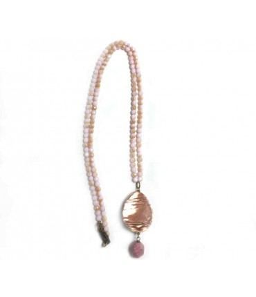 Majo long handmade necklace with crystals, and bronze and brass pendant