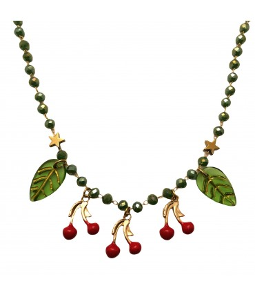 collana MR BIGGY BIJOUX ciondoli ciliegie e cristalli verde salvia