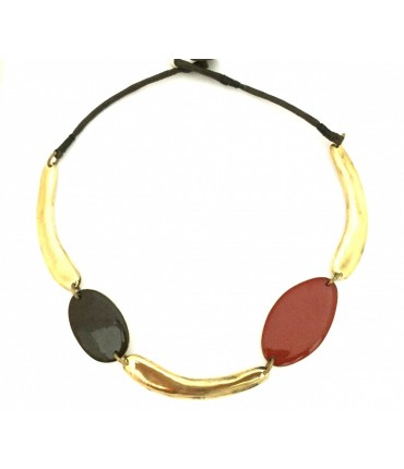 Majo shiny bronze necklace and red brick + brown enamel