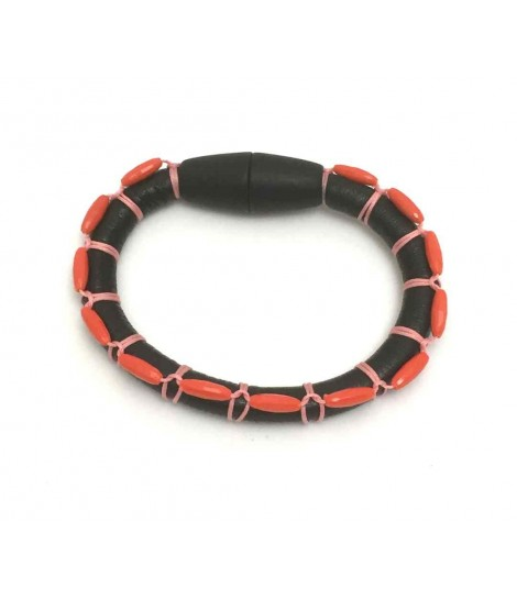 Faux leather and stones Clotilde Silva black bracelet