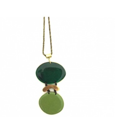 MAJO necklace in polished bronze and double medal with pistachio+emerald enamel
