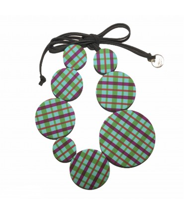collana girocollo FLOW-ERS in tela fantasia tartan turchese e viola