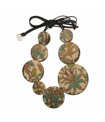 collana girocollo FLOW-ERS in broccato  fantasia floreale  turchese e bronzo