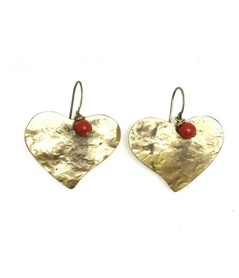 Handmade heart earrings Majo with nacre ball