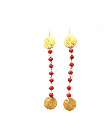 Handmade pendant earrings Les jeux des dames red tourmaline+golden nuggets