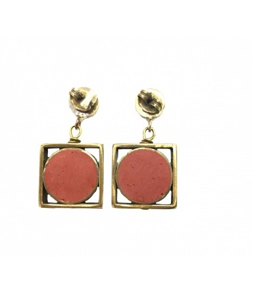 MAJO bronze earrings with red brick resin insert