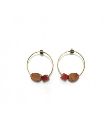 Handmade circle brass Majo earrings with nacre cube