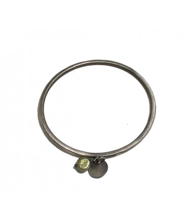 Rigid Majo bracelet in pewter with pendant