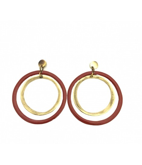 Double circle degradè MAJO earrings in polished bronze and brick red enamel