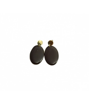 MAJO polished bronze and brown enamel pendant earrings