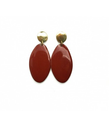 MAJO polished bronze and brick red enamel oval pendant earrings