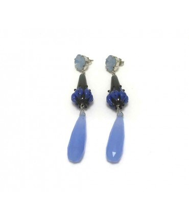 Handmade light blue pendant Clotilde Silva earrings