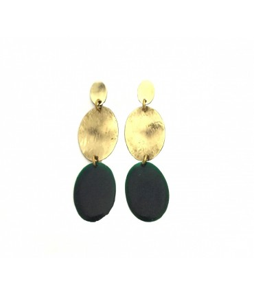 MAJO pendant earrings with oval elements in polished bronze and dark green enamel inserts