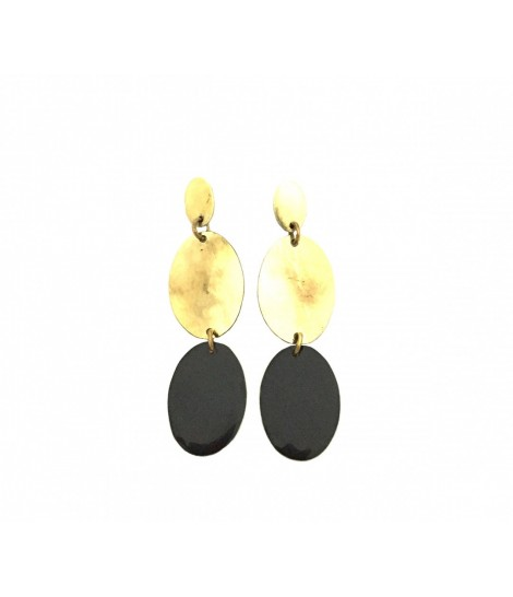 Pendant MAJO earrings with oval elements in polished bronze and black enamel insert