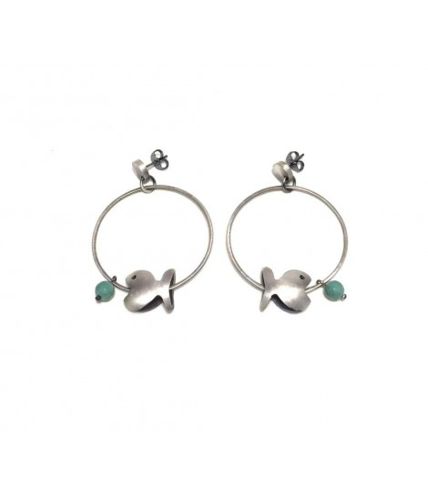 Circle Majo earrings with fish