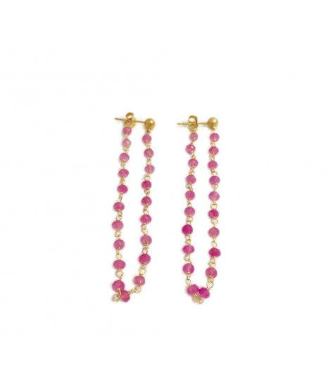 Handmade Les jeux des dames earrings with pink pulley