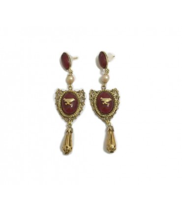 Ornella bijoux marsala/gold earrings