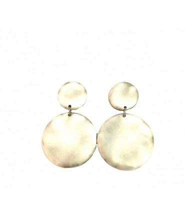 MAJO pewter earrings + clip with double pad degraded