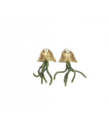 Giulia Barela jellyfish earrings with green beads