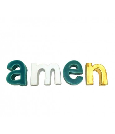 "Scritta in ceramica ""amen""mv%ceramics design"