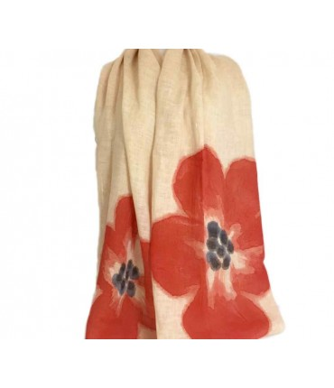 Exquisite j coral poppies scarf