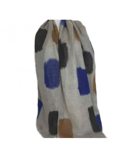Exquisite j grey and brush strokes bluette scarf