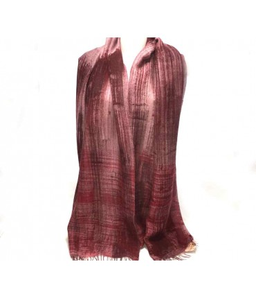 Hand-painted EXQUISITE J scarf with dark pink scratches