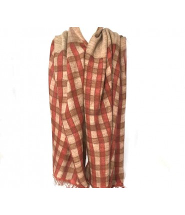 EXQUISITE J hand-painted wool check brick scarf
