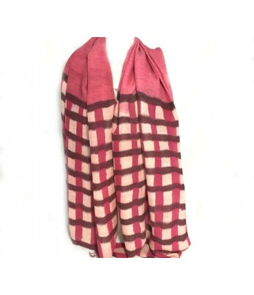 EXQUISITE J hand-painted wool pink/brown check scarf