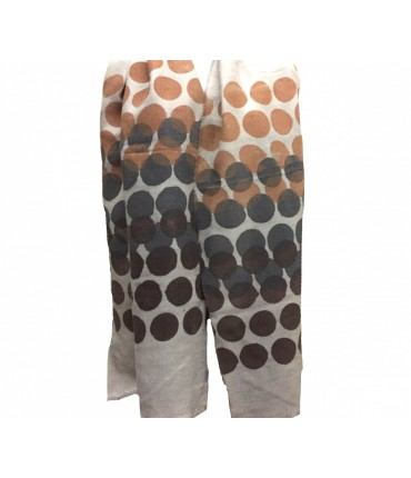 Exquisite J hand-painted light beige scarf with dark brown + charcoal dots