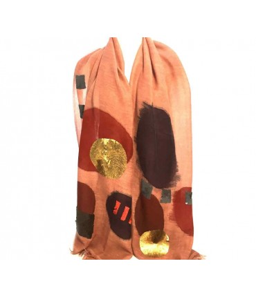 EXQUISITE J maxi scarf hand embroidered in wool and sequins