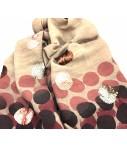 Sciarpa Exquisite J rosa chiaro con bolli dipinti e ricamati con paillettes colore rosa e bronzo
